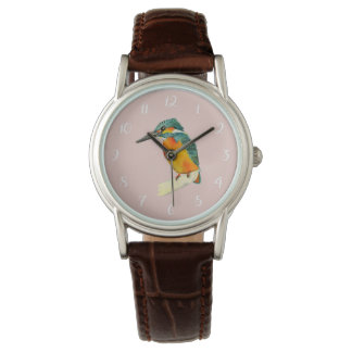 Kingfisher Bird Watercolor Painting Watch