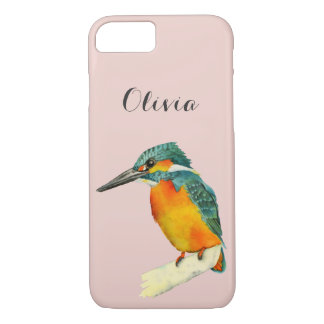 Kingfisher Bird Watercolor Painting with Name iPhone 8/7 Case