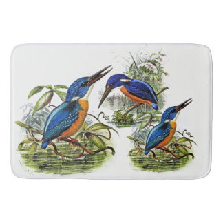 Kingfisher Birds Wildlife Animal Pond Bath Mat
