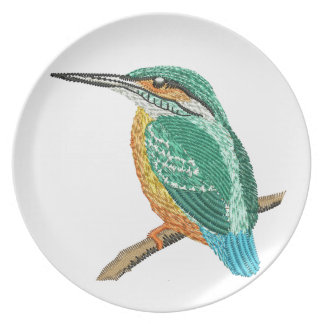 kingfisher embroidery imitation plate