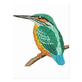 kingfisher embroidery imitation postcard