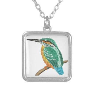 kingfisher embroidery imitation silver plated necklace