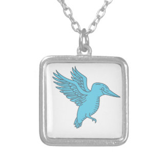 Kingfisher Flying Mono Line Silver Plated Necklace