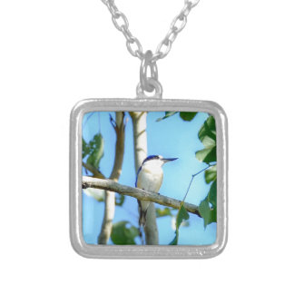 KINGFISHER IN TREE QUEENSLAND AUSTRALIA SILVER PLATED NECKLACE