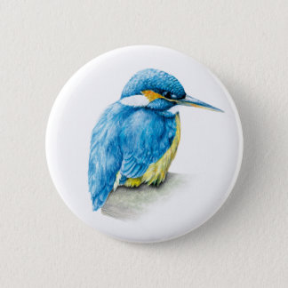 Kingfisher Watercolor art button/badge 2 Inch Round Button