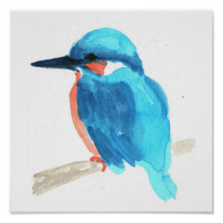 Kingfisher watercolor painting square poster