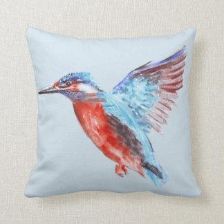 Kingfisher Watercolour Throw Pillow