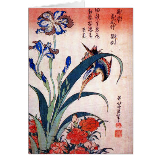 Kingfisher with Irises and Wild Pinks, Hokusai Card