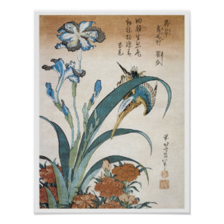Kingfisher with Irises, Hokusai, 1834 Poster