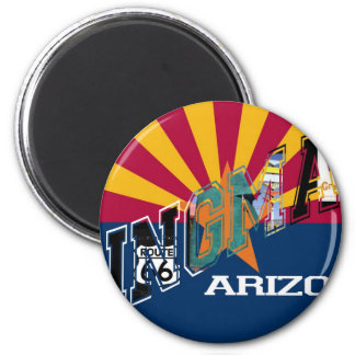Kingman Arizona Flag Route 66 2 Inch Round Magnet