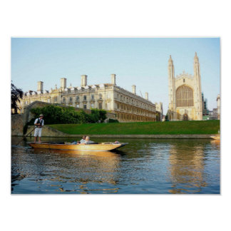 King's College Chapel on the river Cam Poster