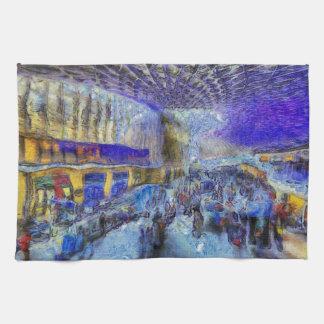 Kings Cross Rail Station London Art Kitchen Towel