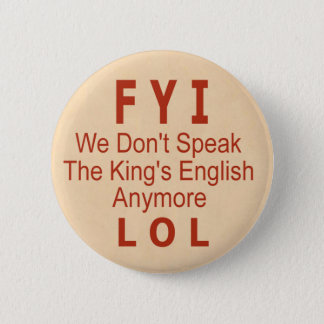 King's English 2 Inch Round Button