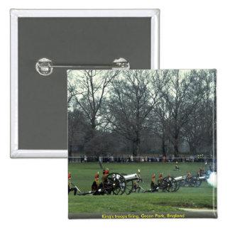 King's troops firing, Green Park, England Pinback Buttons