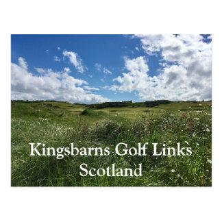 Kingsbarns Golf Links Greens in sun Fife, Scotland Postcard
