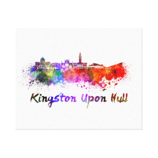 Kingston Upon Hull skyline in watercolor Canvas Print