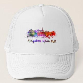 Kingston Upon Hull skyline in watercolor Trucker Hat