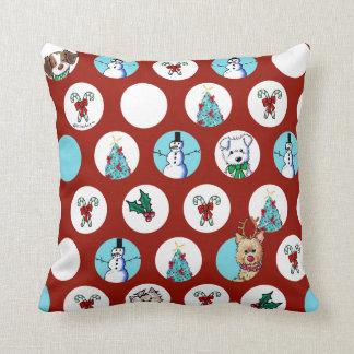 KiniArt Dogs Snowman Christmas Throw Pillow