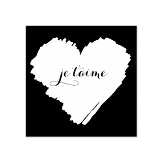 KiniArt French I Love You Heart Rubber Stamp