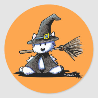 KiniArt Halloween Westie Witch Classic Round Sticker