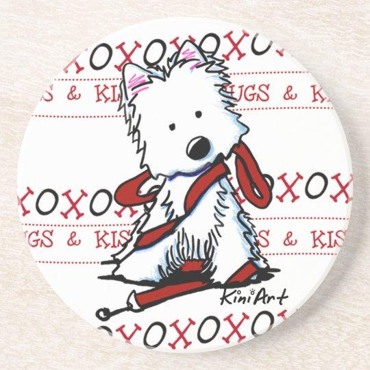 KiniArt HUGS & KISSES Westie Dog Coaster