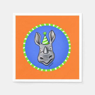 KiniArt Rhino Birthday Napkins Disposable Napkin