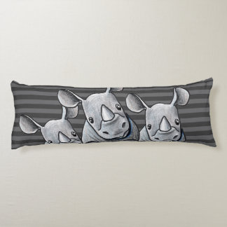 KiniArt Rhinoceros Striped Body Pillow