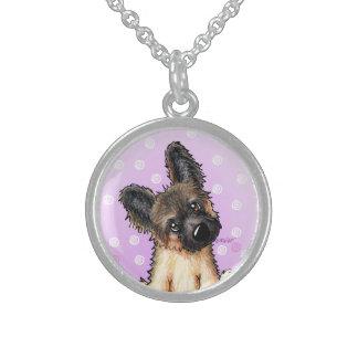 KiniArt Shepherd Puppy Sterling Silver Necklace