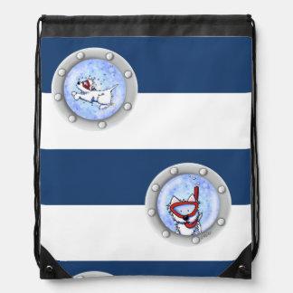 KiniArt Snorkel Westies Backsack Drawstring Bag