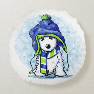 KiniArt Snowy Westie Round Pillow