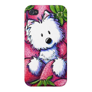 KiniArt Strawberries Westie iPhone 4/4S Cover