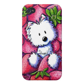 KiniArt Strawberries Westie iPhone Case iPhone 4/4S Cover