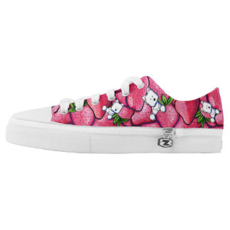 KiniArt Strawberry Westie Low-Top Sneakers