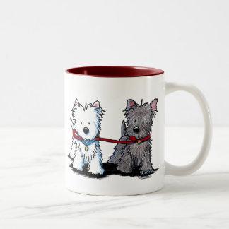 KiniArt Terrier Walking Buddies Two-Tone Coffee Mug