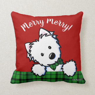 KiniArt Westie Boy & Girl Christmas Throw Pillow