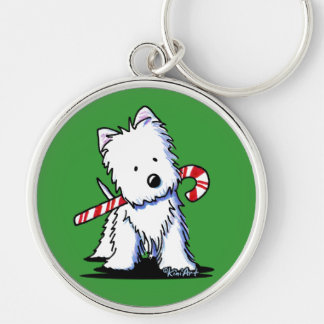 KiniArt Westie Candy Cane Cutie Key Chain