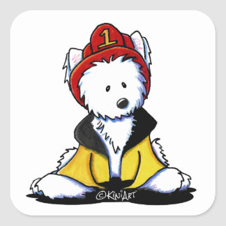 KiniArt Westie Fireman Square Sticker