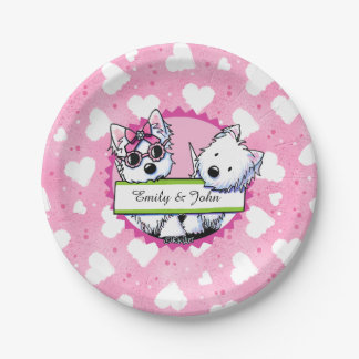 KiniArt Westie Hearts Plates 7 Inch Paper Plate