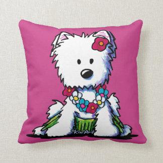 KiniArt Westie Hula Girl Throw Pillow