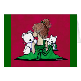 KiniArt Westie Kisses Christmas Card