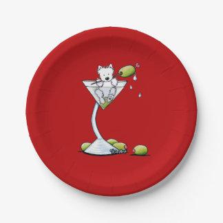 KiniArt Westie Martini Paper Plate