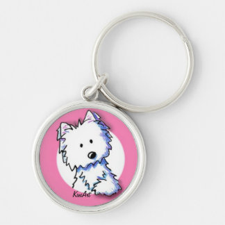 KiniArt Westie on Pink Keychain