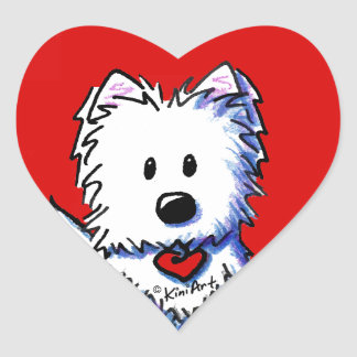 KiniArt Westie Red Heart Stickers