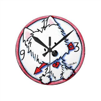 KiniArt Westie Time Round Clock