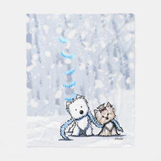 KiniArt Winter Terriers Fleece Blanket
