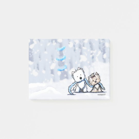 KiniArt Winter Terriers Post-it Notes