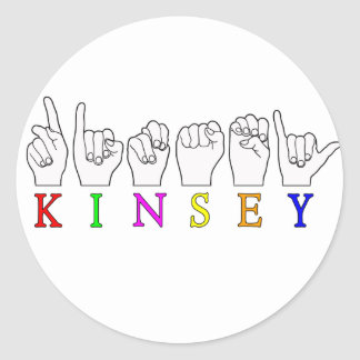 KINSEY  ASL FINGERSPELLED CLASSIC ROUND STICKER