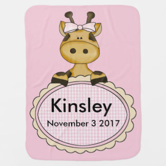 Kinsley''s Personalized Giraffe Baby Blanket
