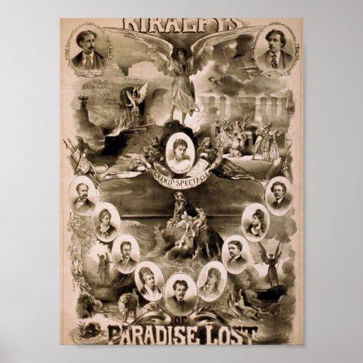 Kiralfy's, 'Paradise Lost' Retro Theatre Poster