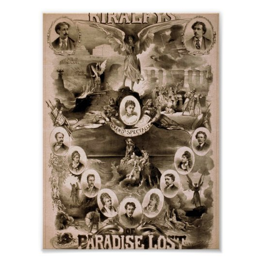 Kiralfy's, 'Paradise Lost' Retro Theatre Poster